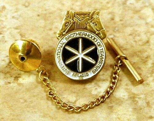 Teamsters AFLCIO Tie Tack Pin and Chain Clasp
