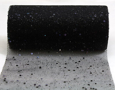 50 YARDS Black Glitter Tulle Fabric Wedding Halloween Costume Party Decoration](Halloween Wedding Supplies)