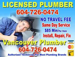 LICENSED Plumber ** DISCOUNT Plumbing ** FIX, INSTALL** Same Day