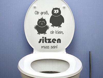 Wandtattoo Eule Badezimmer Toiletten Aufkleber Ob groß,ob klein,sitzen muss sein