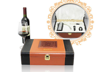Deluxe Wine Accessory Leather Gift Set S/4 – Model AUS10