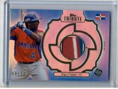 MIGUEL TEJADA 2013 Topps Tribute WBC BLUE PATCH JERSEY #/50 Dominican Republic image