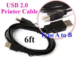 UB20W Hi Speed USB 2.0 Cable 6 FT Type A to B for HP Printer Scanner Computer