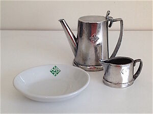 SILVER-PLATED TEAPOT AND PITCHER AND PORCELAIN TRAY