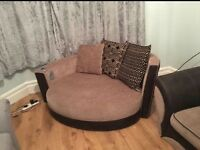3 seater sofa and large cuddler with speakers