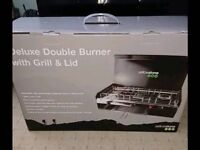 Double burner grill and lid