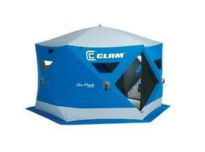 Clam 6 pack portable ice fishing shelter
