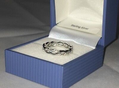 925 Sterling Silver Ring entwined full eternity band created Diamonds Size L - R