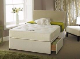 ❤❤SUPERB OFFER❤❤BRAND NEW 4FT6/4FT DOUBLE DIVAN BED BASE w DEEP QUILT, ORTHO OR MEMORY FOAM MATTRESS