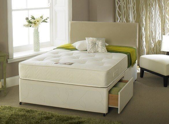2 Storage Drawers Plain Headboard King Size Divan Bed Frame And
