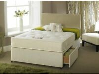 2 storage drawers + plain Headboard king size divan bed frame and super orthopedic mattress