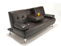 Italian 3 Seater PU leather Sofa Settee with Cup holder, Small Double bed- Brandnew