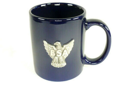 Boy Scouts of America Cobalt Blue Coffee Mug with BSA Eagle Pewter Emblem in EUC