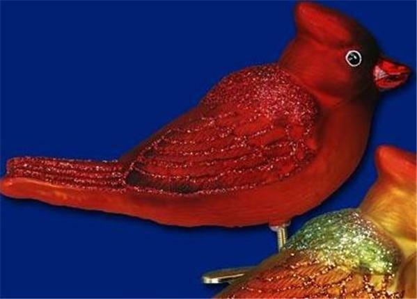 DARK-COLORED WINTER CARDINAL OLD WORLD CHRISTMAS GLASS BIRD ORNAMENT 18033