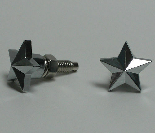 2 Chrome Quot Rock Star Quot License Plate Frame Bolts