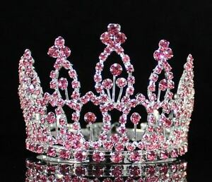 MINI-PINK-RHINESTONE-FULL-HAIR-CROWN-TIARA-PARTY-BRIDAL-JEWELRY-PROM-M279PINK