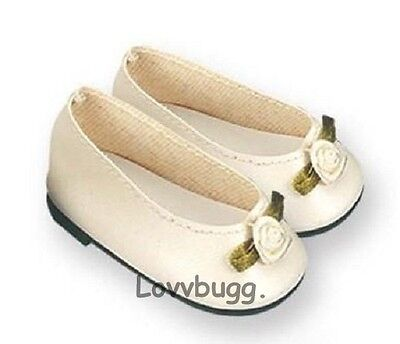 "Lovvbugg Ivory Colonial Flats for 18"" American Girl or Bitty Baby Doll Shoes"