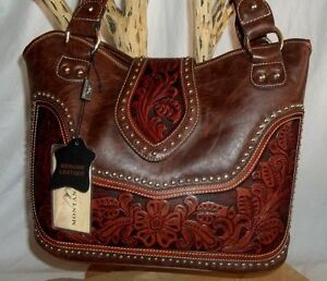 Genuine-PU-LEATHER-MONTANA-WEST-Dark-Brown-WESTERN-Style-Purse-Handbag