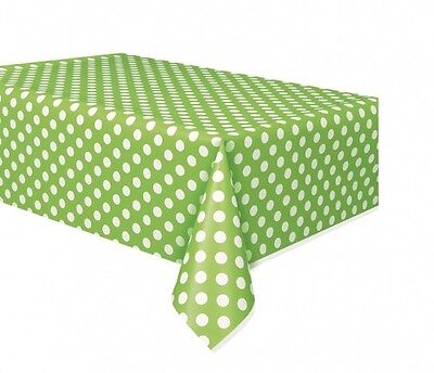Lime Green Polka Dot Plastic Party Tablecloth / Table Cover - 9ft x 4.5ft - New