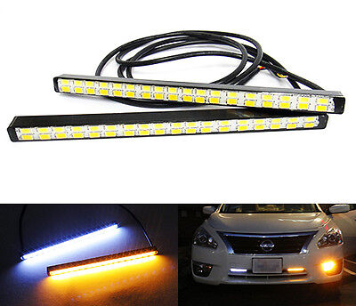 White Amber SAMSUNG 36 SMD LED DRL Daytime Running Light Fog Lamp Universal Fit