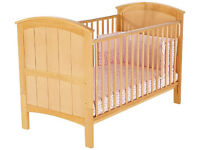 'Orlando' Solid Beechwood Cot Bed - New Born to Five Years with Drop Side, Converts to Junior bed