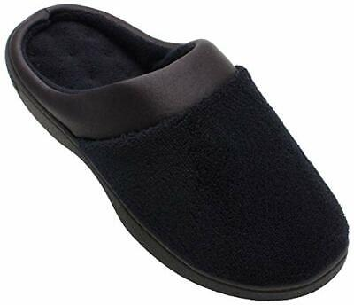 Isotoner Women's Microterry PillowStep Satin Cuff Clog Slippers, Black, 6.5-7 M