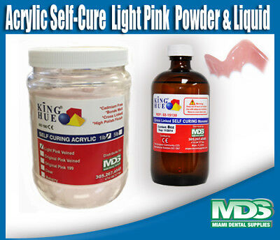 Acrylic Self-Cure  Light Pink Veined  1 lb Powder & 8 oz Liquid ()