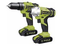 Brand new Guild 18V Li-Ion Cordless Hammer Drill & Impact Driver 2x 1.5ah batteries. (RRP119.99)