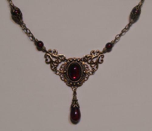 garnet carbuncle necklace diamond victorian and