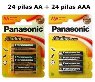 48 PILAS ALCALINAS PANASONIC 24 PILAS AA LR06 + 24 PILAS AAA...
