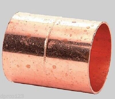 "1-1/2"" COPPER COUPLING (W/STOPS) WROT COPPER PIPE CONNECTOR FITS 1-5/8"" OD PIPES"