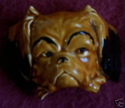 PEKINGESE DOG HEAD GLOSS CHINA WALL PLAQUE PEKINESE