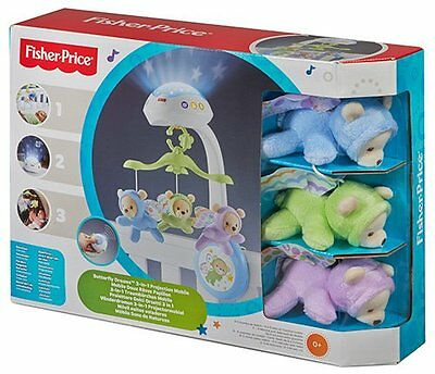 Mattel Fisher-Price 3-in-1 Traumbärchen Mobile Kinderbett-Mobile Musik Projektio