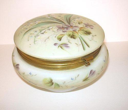 Antique Glass Powder Box Ebay