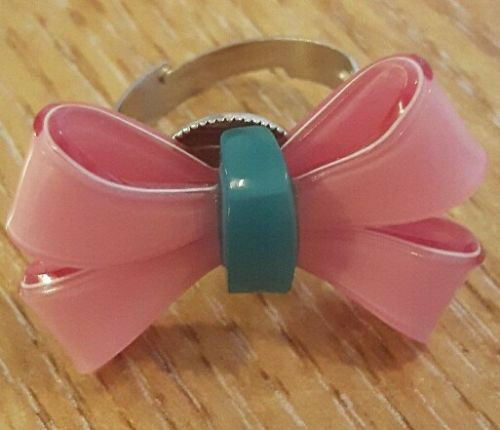 New Pink and Blue Acrylic Bow Fashion Ring. One Size Fits All.