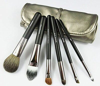 NAKE 6 pc Professional Mini Travel Makeup Goat Hair Makeup Brush Set with Bag ()