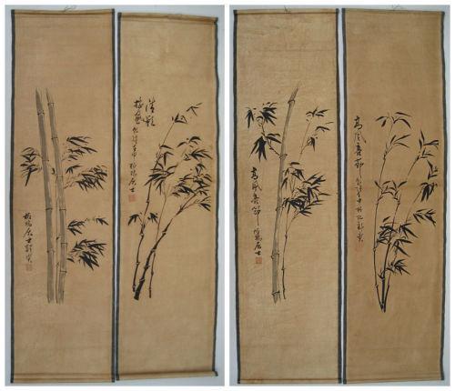 Chinese painting scroll bamboo Zheng Banqiao 4 scrolls 郑板桥