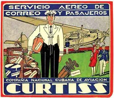 Curtiss Airlines Havana Cuba Vintage 1950's Style   Travel Decal  Sticker  (1950's Havana Fashion)