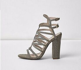 Caged Metalic Heels River Island