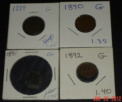 VINTAGE 1896 1899 INDIAN HEAD PENNIES; CENTS; LOT OF 4 COINS; GOOD   NR