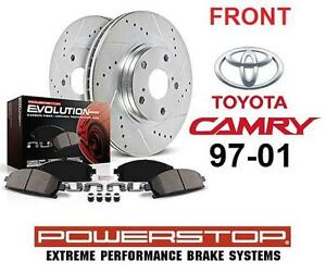 NEW 97-01 CAMRY FRONT BRAKE KIT Front Ceramic Brake Pad and Cross Drilled/Slotted Combo Rotor CAR AUTO POWERSTOP