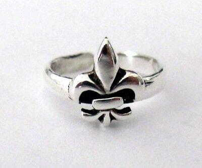 Sterling Silver Fleur De Lis adjustable size small toe ring