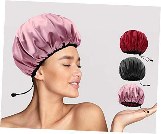 Reusable Adjustable Shower Caps For Women Crly Long Hair Satin Bonnets Waterproo