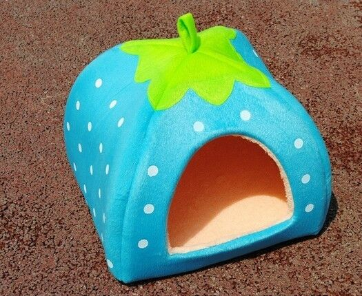 Soft Strawberry Pet Dog Cat Bed House Kennel Doggy Warm Cushion Basket Blue S