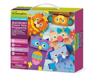 ANIMAL PAPER BAG PUPPETS - CREATIVE HANDS KIDS CRAFT & ACTIVITY THINKING KITS 4M](Paper Bag Puppets)