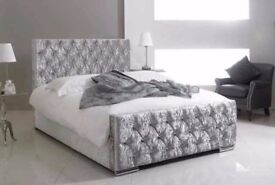 🚚EXPRESS DELIVERY🚚BRAND NEW DESIGNER CHESTERFIELD BED IN BLACK/CAMPAIGN/SILVER COLOR