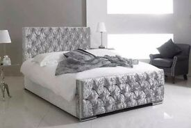 """❤Silver Black Beige❤ Brand New Crushed Velvet Chesterfield Bed -Single Double King- """"OPT MATTRESSES"""""""