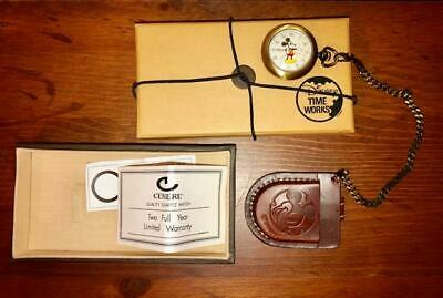 Disney Time Works Mickey Mouse Pocket Watch with Leather Case - NEW!