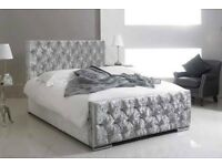 SAME DAY FREE DELIVERY- BRAND NEW CHESTERFIELD FRAME BED IN SILVER BLACK OR CREAM DOUBLE KING