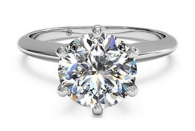 3.95 Carat Round Cut D VS2 Diamond Solitaire Engagement Ring 14k White Gold